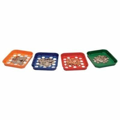 MMF Industries Speed Sort Coin Sorting Trays, 4 Color-Coded Trays for Pennies