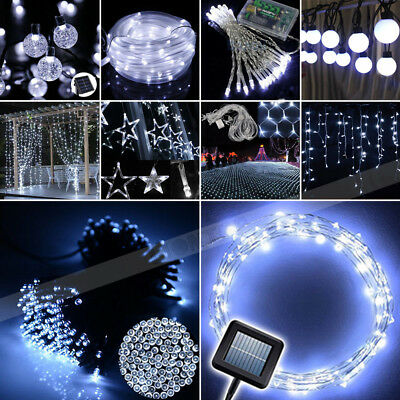 White 100 200 300 LED Solar/Battery Light Outdoor Fairy String Xmas Party Lights