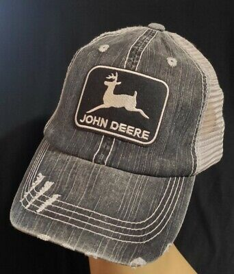 DISTRESSED TRUCKER HAT Low Profile Cotton Mesh Black & Gray