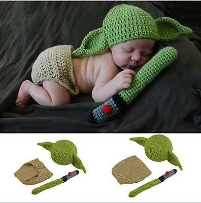 Yoda Newborn Baby Crochet Knit Costume Photo Photography Prop Hats Outfits