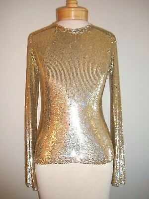 TORY BURCH Sequin Top   Gold    Size Small   Retail $950
