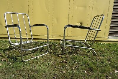 Two Art Deco TROY SUNSHADE Furniture Co. Chrome Tube Chairs by GILBERT RHODE