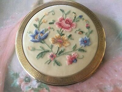 vintage TRADE La Rage MARY gold powder compact with embroidered silk flowers
