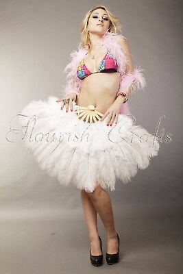 """Burlesque 21""""x 39"""" white marabou Ostrich feather fan with Travel leather Bag"""