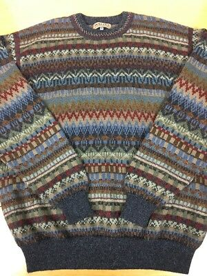 Alpaca Sweater Mens Waliki 100 Hand Loomed Multi Colored Crewneck