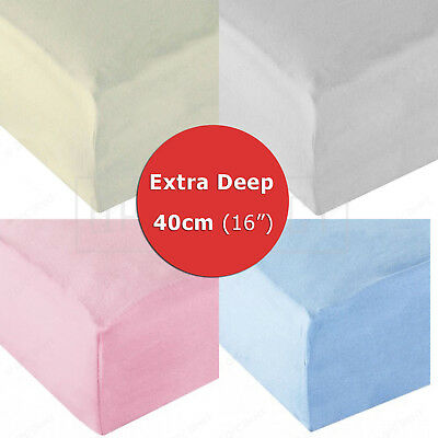 """Extra Deep 40cm (16"""") Soft Warm 100% Cotton Knitted Stretch Jersey Fitted Sheet"""