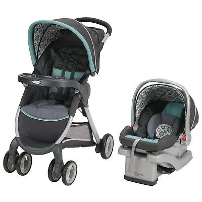 Graco FastAction Fold Click Connect Travel System Car Seat Stroller Combo Cho...
