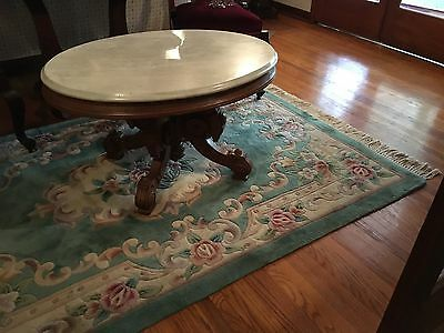 Antique Oval Carved Marble Top Coffee Table