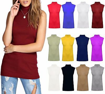 Ladies Women Turtle High Sleeveless Neck Polo neck top Tee Tops New UK 8-26