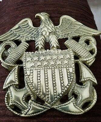 American Eagle Brass Wall Hanging Plaque  Shield/Stars/Stripes