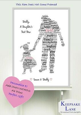 Christmas Ideas For Dad From Daughter.Personalised Dad Daddy And Daughter A4 Word Art Print Christmas Gift