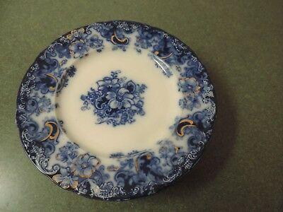 "Alfred Meakin Ormonde Scalloped Embossed Flow Blue Gold 9"" Plate 1890 Lot of 8"