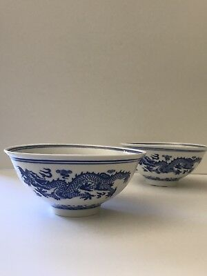 Chinese Blue and White Dragon Flower Porcelain Bowls PAIR signed