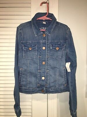 Nwt Gap Kids Girls 1969 Jean Jacket Denim Large Medium Wash Blue