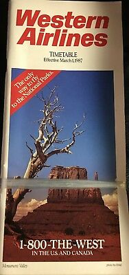30 Year Old Historic Final TimeTable from Western Airlines at Delta Merger 1987