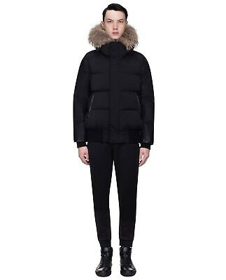 Men's Authentic RudSak Bale Puffer Black Winter Jacket With Natural Fur *NWT*