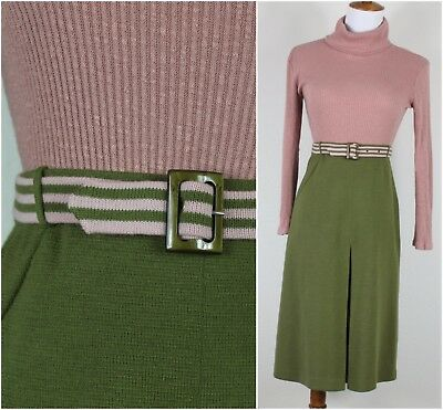 Vintage 70s Made in Italy Wool Knit Skirt Olive Green and Pink