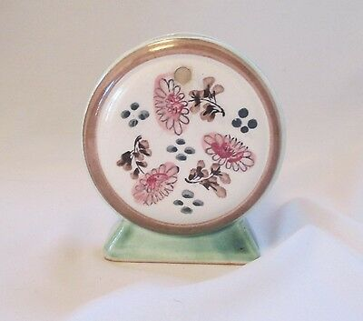 Vtg 'Hand Painted Florart Japan' Wall Pocket ~ Moongate Shape w/Birds on a Nest