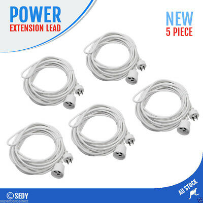 5x 5M 240V Power Extension Cord Cable Lead AU 3-Pin Plug White Power Board