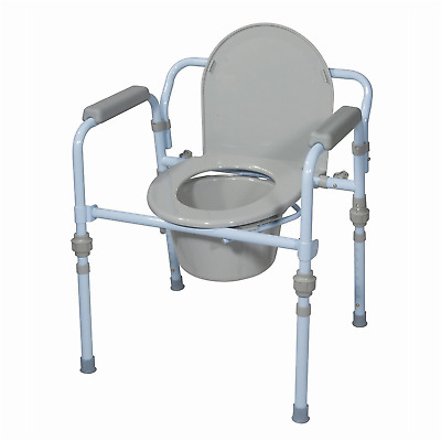 Folding Commode Bedside Handicapped Toilet Seat Bucket Portable Safety Chair