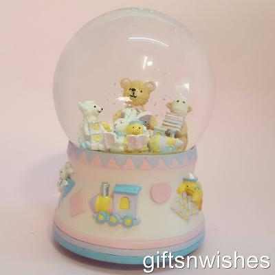 EXQUISITE Musical Teddy Bear Snow Dome Baby Shower Christening Birthday