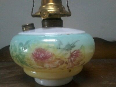 """Antique Vintage Banner Floral Painted Glass Oil Lamp Base 7"""" tall."""
