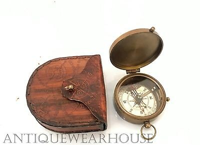 Beautiful Vintage Antique Look Solid Brass Working Compass With Leather Case G