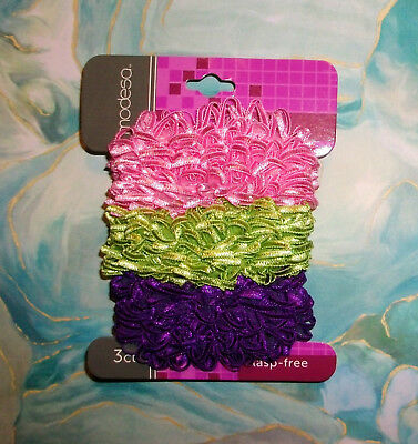 3 Pk Hair Band Scrunchies Twister Satin Fancy Loop Stretch NEW Carded