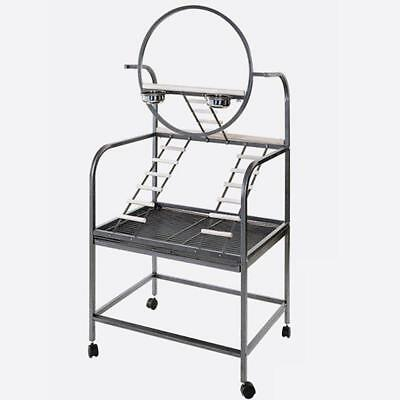 PARROT PLAYGROUND GREY Perch Ladders Stainless Steel Feed Water Removable Tray