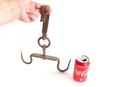Antique PRIMITIVE Wrought Iron DOUBLE Rotating HOOK Hanger MEAT / SKINNING  $@$