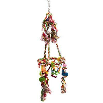 CAROUSEL BIRD SWING Lovebirds Cotton Multi-Color Durable Bell Decorated Plastic