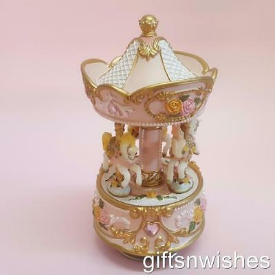 EXQUISITE Musical 3 horse Carousel Baby Shower Christening Birthday