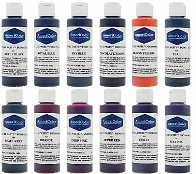 AmeriColor Set of 12 Soft Gel Paste Food Color 4.5 Ounce Bottles
