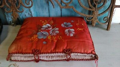 Great,antique,French 1920's large folding lingerie case,silk,handpainted flowers