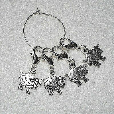 Set Of 4 Small Sheep Knitting Crochet Stitch Markers Craft Clip Tool Gift