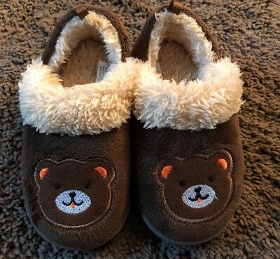 ed064c6f641c Baby Boys Girls Toddler Slippers Size 7 8 Bears Brown Shoes Medium Kids NEW!