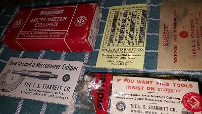 Vintage Starrett 436 1 Inch Micrometer With Box & Instructions NOS