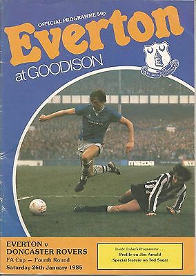 Football Programme - Everton v Doncaster Rovers - FA Cup - 26/1/1985