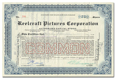 Reelcraft Pictures Corporation Stock Certificate Signed by R. C. Cropper