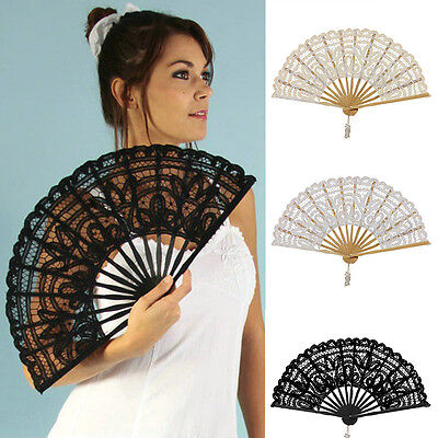 Simple Fresh Dancer Folding Hand Held Lace Fan FancyDress Decor Fan Party Fan