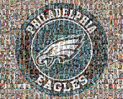 Philadelphia Eagles Photo Mosaic Print Art with over 100 past & present Players
