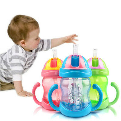 Straw Cup Drinking Bottle Bring Plastic Sippy Cups With handles CuteBaby Kids #