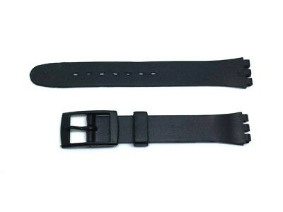 Swatch Compatible Watch Strap 14mm Black Resin Replacement Ladies Size Brand New