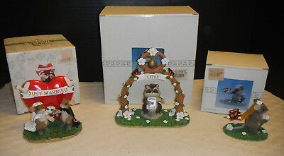 Fitz & Floyd Charming Tails Wedding Day Figurines Lot Of 3 With Stands