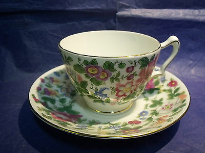 Outstanding Antique Crown Staffordshire Colorful Floral Teacup & Saucer, Reg'd.