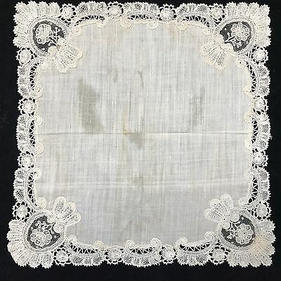 LOOK! Antique Handmade Wedding Hankie Handkercheif, Handmade Lace, Ivory (RF636)