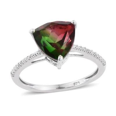 4ct Watermelon Tourmaline Quartz Ring in 925 Sterling Silver - UK Size M