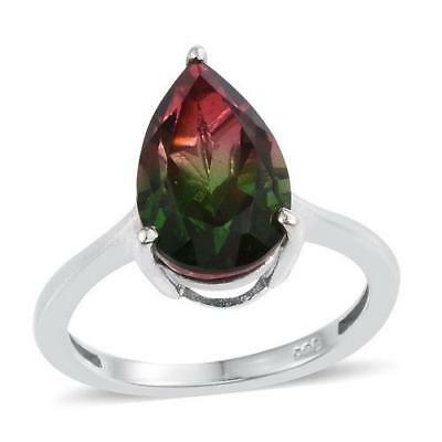 5.25ct Watermelon Tourmaline Quartz Ring in 925 Sterling Silver - UK Size M