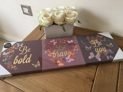 SET 3 Purple Gold Butterfly CANVAS WALL ART PICTURE SHABBY New Floral Chic