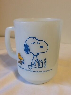 """Vintage Fire King Snoopy Mug """"Im not Worth A Thing Before Coffee Break!"""""""